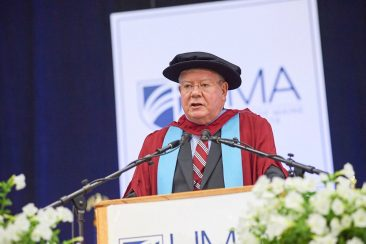 David MacMahon, Ph.D., provides remarks on behalf of the UMS Board of Trustees at UMA's 2019 Commencement Ceremony.