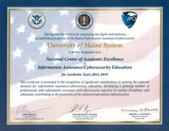 National Center of Academic Excellence Certificate