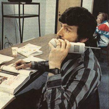 Saco student attending class via ITV, 1995