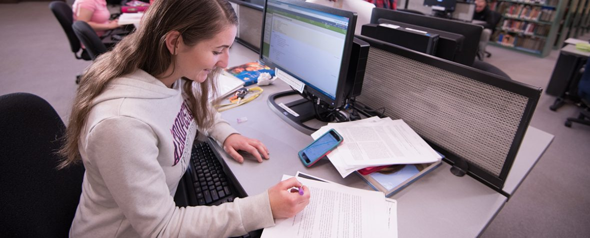 student doing homework at computer