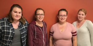 L to R: Autumn Thoits, Secretary; Kimberly Snider, Vice President; Jessica Washburn, President; and Whitney Kilton, Activities Chair.