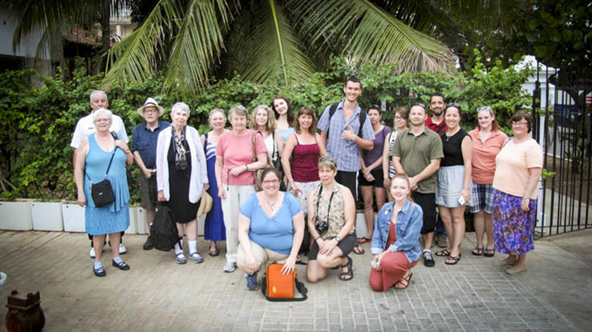 Representatives of the UMA Social Science program with other members of the UMA community on an academic visit to the island nation of Cuba, Spring 2016