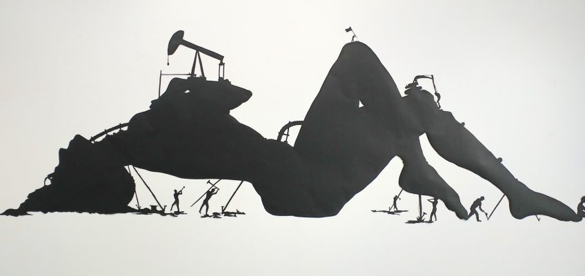 The silhouette creates a stark reality. Here lies bare the exploitation of our planet, represented by the female figure. Commonly depicted as maternal, here she appears youthful and beautiful as the unspoiled earth.