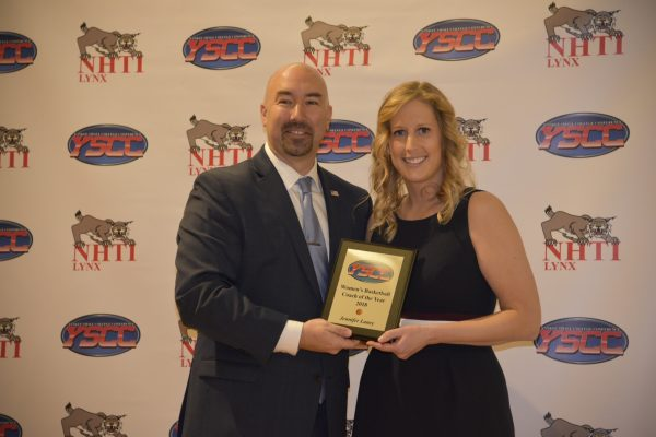 Jennifer Laney YSCC coach of the year with Matt Richards YSCC President