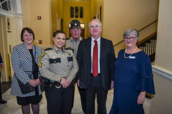 From Left to Right: Rebecca Wyke, UMA President; Emily Christiansen, UMA Justice Studies Student; Ken Mason, Kennebec County Sheriff; James Page, University of Maine System Chancellor; Sharon McMahon Sawyer, Assistant Professor of Justice Studies.