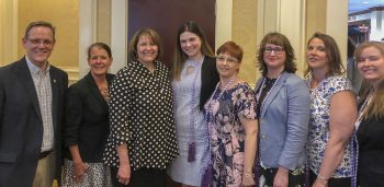 From left to right in photograph Jonathan Henry, Brenda McAleer, Lynne King, Hilary Harkins, Veronica Harriman, Danielle Doyon, Karen Dunn, and Caitlin Miller