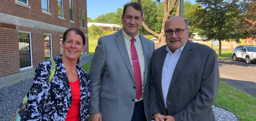 Left to right: Dean McAleer, Provost Szakas and UMA BOV Vice Chair Richard Thompson