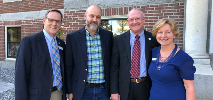 Left to right: VP Jon Henry, Michael Sabatini, CBO Buster Neel Dean of Students Sheri Fraser