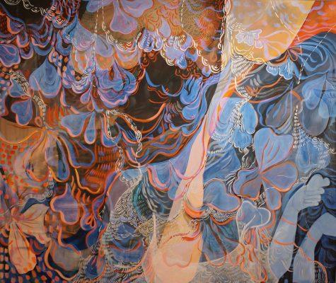 "Wylie Garcia, Flowers = Trust Your Instincts, 2019, acrylic on bleached cotton, 74"" x 56"", copyright Wylie Garcia"