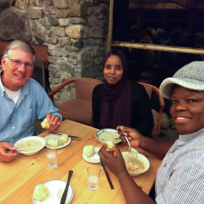 Participants enjoying a meal at the French Immersion weekend.