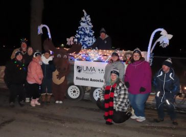 UMA Staff and Student members participating in the Festival of Lights Parade in Saco 2019