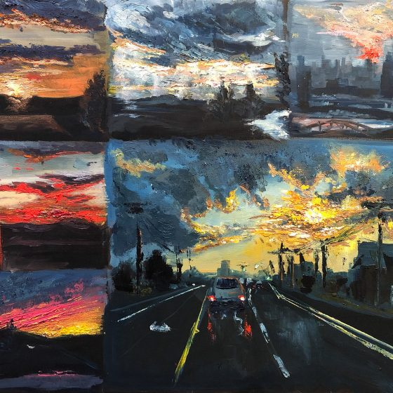 "Painting of a variety of sunsets by Boheng Kou, ""Delighted"", Kents Hill School"