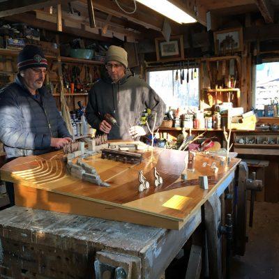 Robert Katz and Dan Mitchell in the workshop.