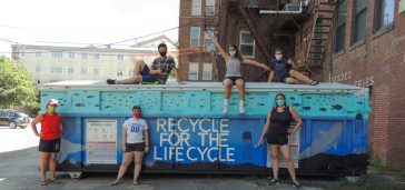 Group Photo - UMA AIAS and the newly decorated recycling bin