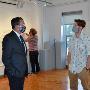 Chancellor Dannel Malloy and President Rebecca Wyke visit Handley Hall